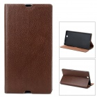Protective Flip Open Case w/ Stand / Card Slots for Sony XL39H - Brown