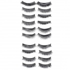 ZX-034 Handmade Cosmetic Makeup Dense Eyelashes - Black (10 Pairs)
