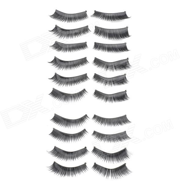 ZX-036 Handmade Cosmetic Makeup Curl  Dense Eyelashes - Black (10 Pairs)