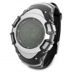 FR8204B Multifunction Sport Rubber Digital Wristwatch w/ Compass / Barometer + More - Black + Silver