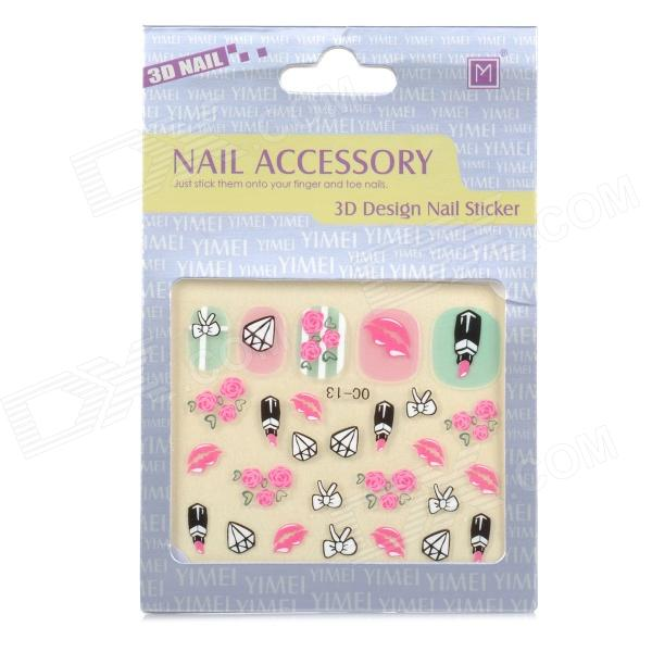 OC-13 DIY 3D Nail Art Stickers Set super shiny 5000p ss16 4mm crystal clear ab non hotfix rhinestones for 3d nail art decoration flatback rhinestones diy