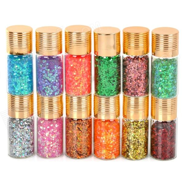 12-Color Plastic Nail Art Sequins Set 5pcs magnetic magnet rod stick board with arrow pattern for magical nail art polish