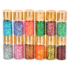 12-Color Plastic Nail Art Pailletten Set