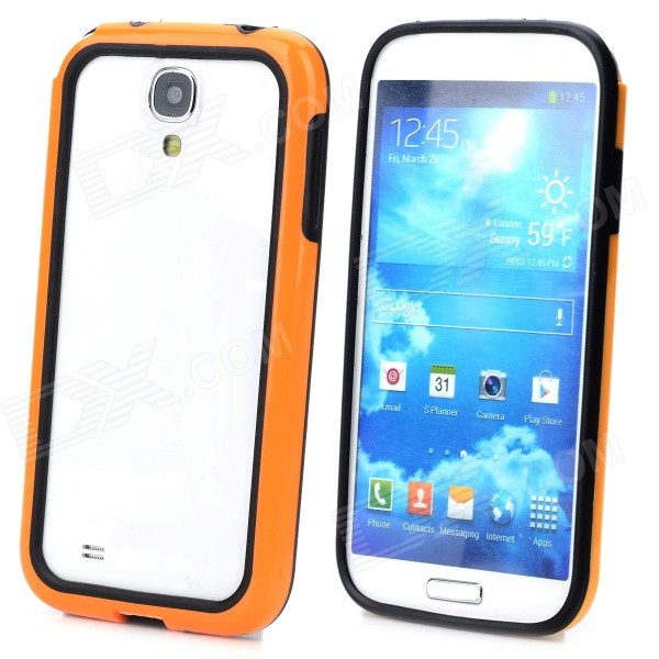 Protective Silicone Bumper Frame for Samsung S4 / i9500 - Orange + Black