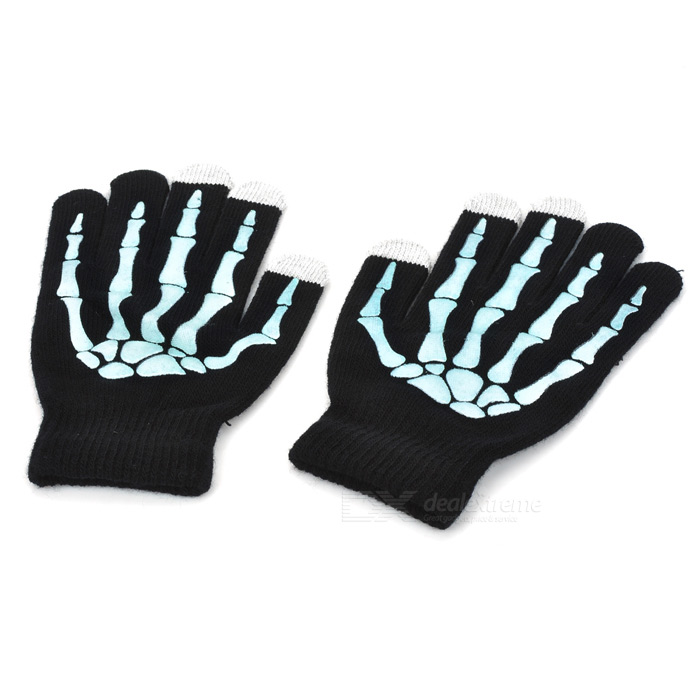 Hand Bone Pattern Wool Capacitive Screen Touching Hand Warmer Glove - Black + White