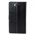 Protective PU Leather Flip Open Case w/ Stand / Card Slots for Sony L36h - Black