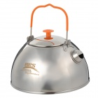 Handy Portable Outdoor Stainless Steel Teapot Coffee Pot Set - Silver + Orange (1.1L)