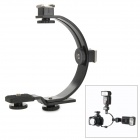 C-Shaped Aluminum Alloy Dual Hotshoe Holder for Speedlite / Camera - Black