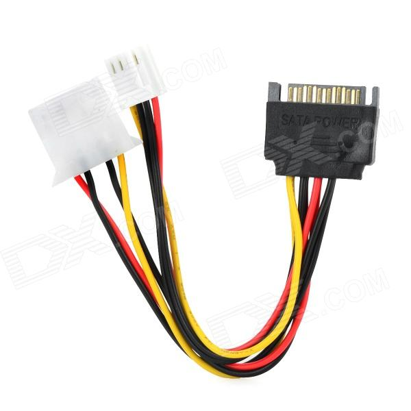 SATA 15pin to 4pin + 4pin Power Cable for IDE Devices - Black + Red + Yellow (15cm) контроллер pci e sata ide 2 1 port sata raid jmb363 bulk