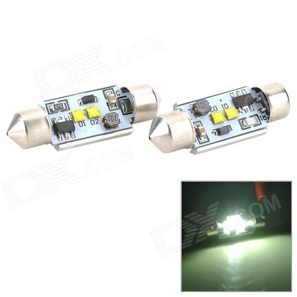 Festoon 36mm 4W 200lm 6500K White Light 2-LED Car Reading Lamp - Silver (2 PCS) new safurance 200w 12v loud speaker car horn siren warning alarm stainless steel home security safety