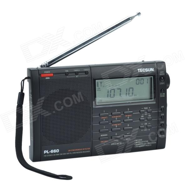 TECSUN PL-660 3.2 LCD Digital Tuning Full-Band FM/MW/SW-SBB/AIR/PLL Stereo Radio Receiver - 4 x AA) tivdio portable fm radio dsp fm stereo mw sw lw portable radio full band world receiver clock