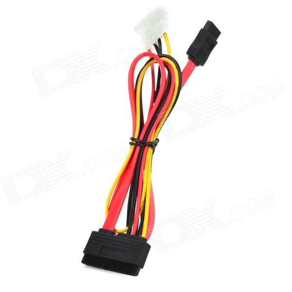 SATA 7+15pin to 7pin + 4pin HDD Data Cable - Red + Black + Yellow (40cm)