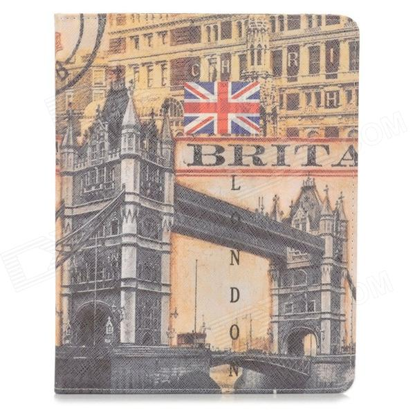 Protective London Bridge Pattern PU Leather Smart Case for Ipad 2 / 3 / 4 - Yellow + Deep Grey
