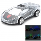 WS-980 Car Model Style Portable 2-Channel RGB Light Speaker w/ FM / TF - Black + Transparent