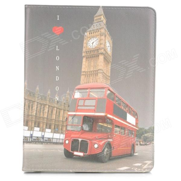 цена на Protective London Bus Pattern PU Leather Smart Case for Ipad 2 / 3 / 4 - Red + Light Yellow + Grey
