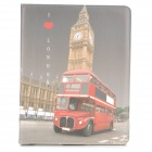 Protective London Bus Pattern PU Leather Smart Case for Ipad 2 / 3 / 4 - Red + Light Yellow + Grey