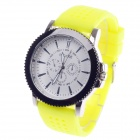 REDEWE RDW-007 Fashionable Men's Quartz Wrist Watch w/ Rubber Wristband - Yellow + White (1 x LR626)