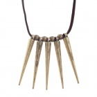 Native American Style Retro Rivet Pendant Long Necklace for Woman - Bronze + Brown
