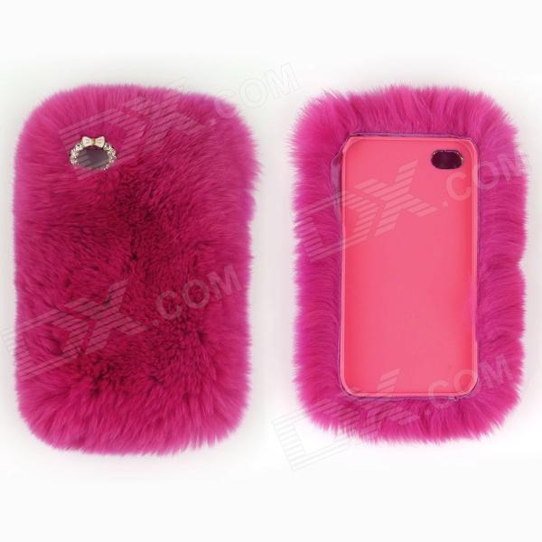 Genuine Rabbit Hair Protective ABS Back Case for Iphone 5S - Deep Pink raindrop pattern protective abs back case for iphone 5 transparent deep pink orange
