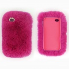 Genuine Rabbit Hair Protective ABS Back Case for Iphone 5S - Deep Pink