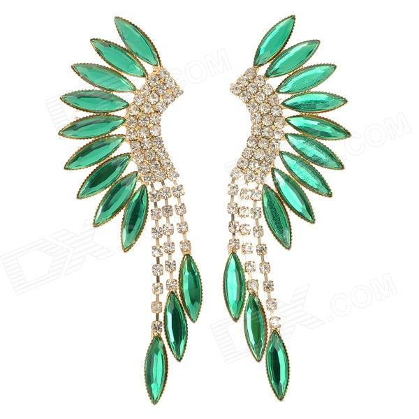 LLRH-01 Fringe Style Zinc Alloy + Rhinestones Stud Dangle Earrings for Women - Green + Silver (Pair) equte epew22h1 fashionable vintage turquoise dangle earrings green silver pair