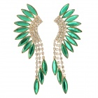 LLRH-01 Fringe Style Zinc Alloy + Rhinestones Stud Dangle Earrings for Women - Green + Silver (Pair)
