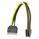 SATA 15pin 60 6pin Card Power Connecting Cable - Black + Yellow (20cm)