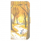 Glow-in-the-Dark Fall Forest PU Leather Flip Case for Iphone 5 / 5S - Yellow + Black
