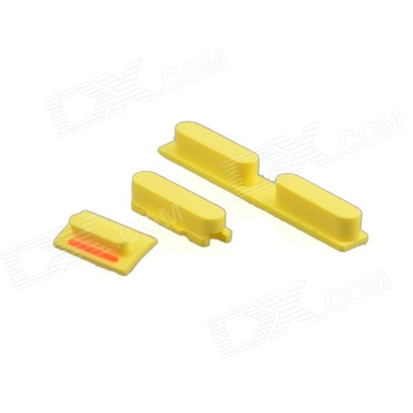 Replacement Volume Button + Mute Button + Switch Button for Yellow Iphone 5C - Yellow genuine iphone 4 repair parts replacement mute button volume button power button