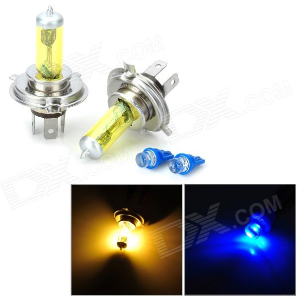 KOBO DIY H4 12V 100W 5500LM Yellow Light Halogen Lamp for Car w/ 2 T10 Blue Bulbs (2 PCS)