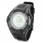 FR8202A Multifunction Sport Rubber Digital Wrist Watch w/ Compass / Barometer + More - Black
