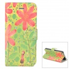Stylish Patterned Flip-open Glow-in-the-dark PU Case w/ Holder + Card Slot for Iphone 5 / 5s / 5c