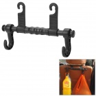 Multi-Functional Plastic Car Headrest Mount Dual Hanging Hook - Black