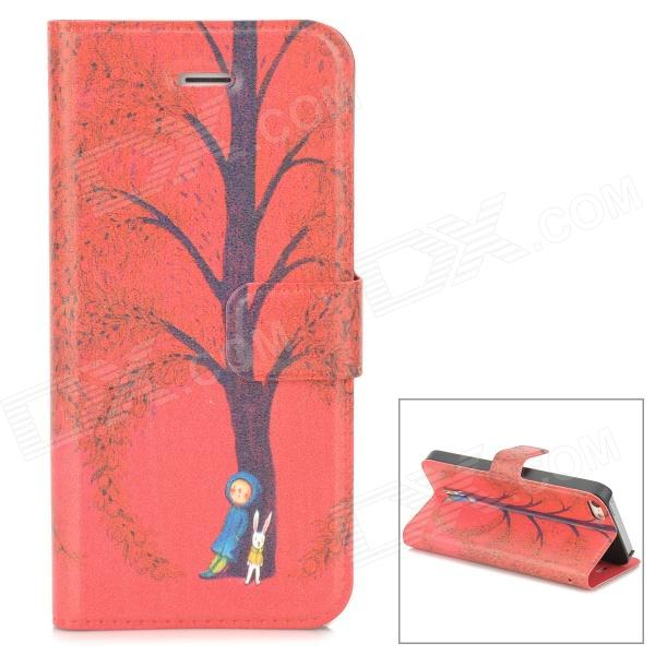 Stylish Patterned Flip-open Glow-in-the-dark PU Case w/ Holder + Card Slot for Iphone 5 / 5s