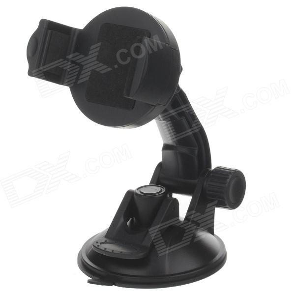 H80 360 Degree Rotation Suction Cup Holder w/ C46 Back Clip for Iphone 4 / 4S / 5 - Black h08 360 rotation 4 port suction cup holder w silicone back clip for iphone 4 4s 5 ipad mini ipod