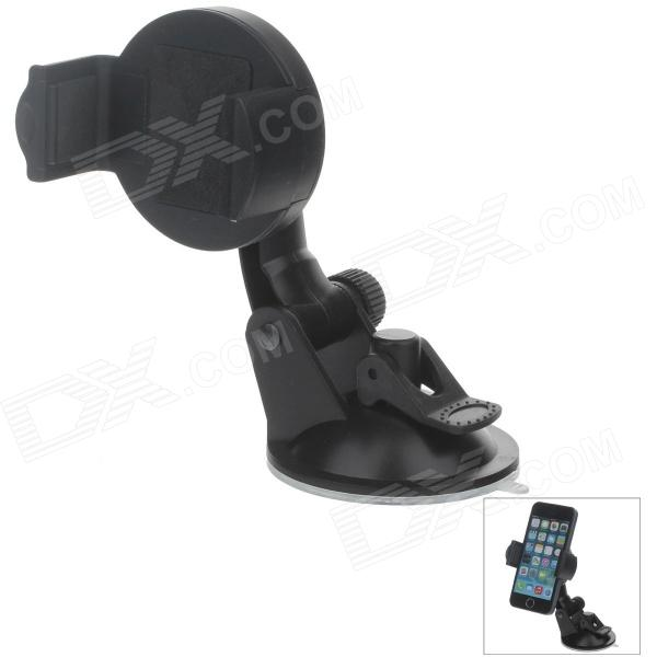 H01 360 Degree Rotation Suction Cup Holder w/ C46 Mini Back Clip for Iphone 4 / 4S / 5 - Black h08 360 rotation 4 port suction cup holder w silicone back clip for iphone 4 4s 5 ipad mini ipod