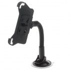 H05 360 Degree Rotation Four Ports Suction Cup Holder w/ Back Clip for Iphone 5 / 5s - Black