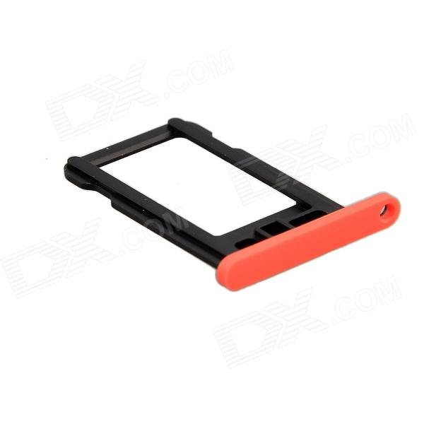 Replacement SIM Card Tray for Iphone 5C - Fluorescent Red + Black