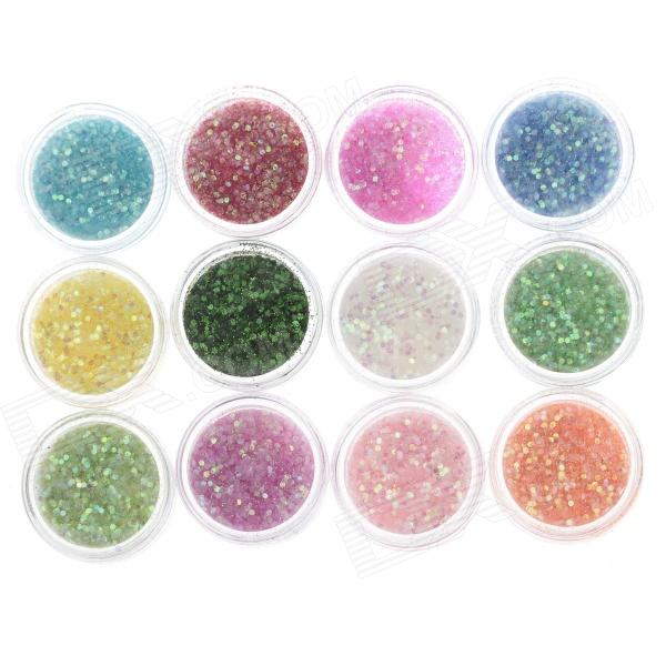 DIY 12-in-1 Nail Art Decoration Sequins + Glitter Set - Multicolored rhombus style 12 in 1 decorative nail art laser sequins set multicolored