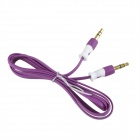HH-029 Flat 3.5mm TRRS Male to Male Audio Connection Cable - Purple (102cm)