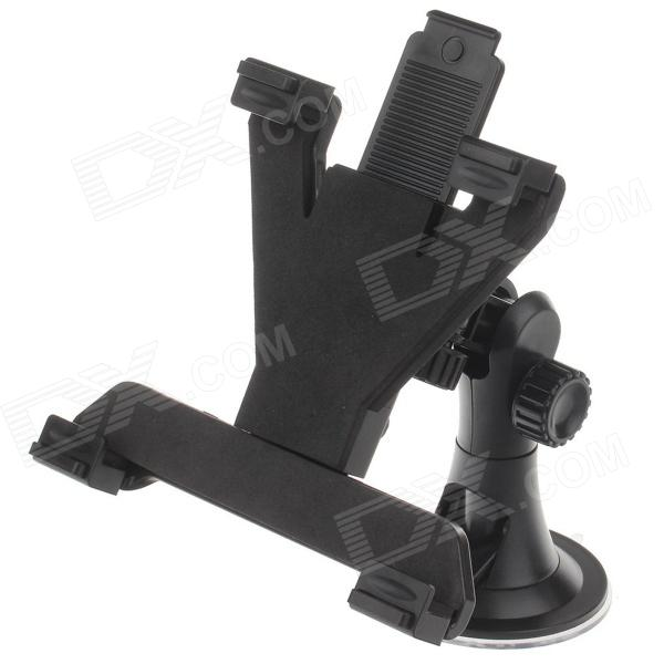 H08 Car 4-Port Suction Cup Holder w/ C60 7~10 Back Clip for Ipad / Ipod / Tablet PC - Black