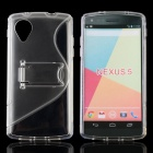 Protective TPU + PC Back Case w/ Stand for LG NEXUS5 - Transparent