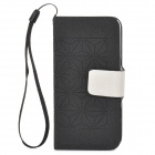 Protective PU Leather + Plastic Case for iPhone 5 - Black + White