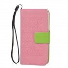 Stylish Protective PU Leather + Plastic Case for iPhone 5 - Pink + Green