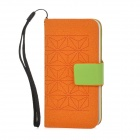 Protective PU Leather + Plastic Case for Iphone 5 - Orange + Green