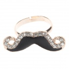 Fashion Mustache Style Crystal Ring for Women - Golden + Black (UK Size 14)