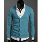 MONSEDEN 1125 Fashionable Personality Cardigan for Men - Lake blue (Size L)