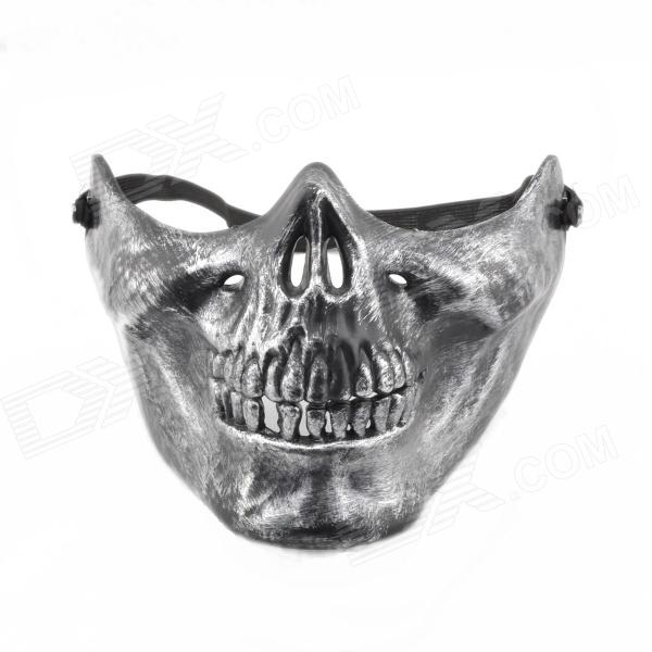 Skull Style Half Face Mask - Old Silvery airsoft adults cs field game skeleton warrior skull paintball mask