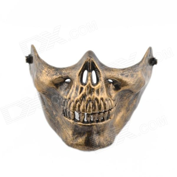 Skull Style Half Face Mask - Bronze airsoft adults cs field game skeleton warrior skull paintball mask