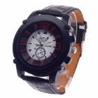 REDEWE RDW-010 Fashionable Men's PU Leather Wristband Quartz Wrist Watch - Black + Red